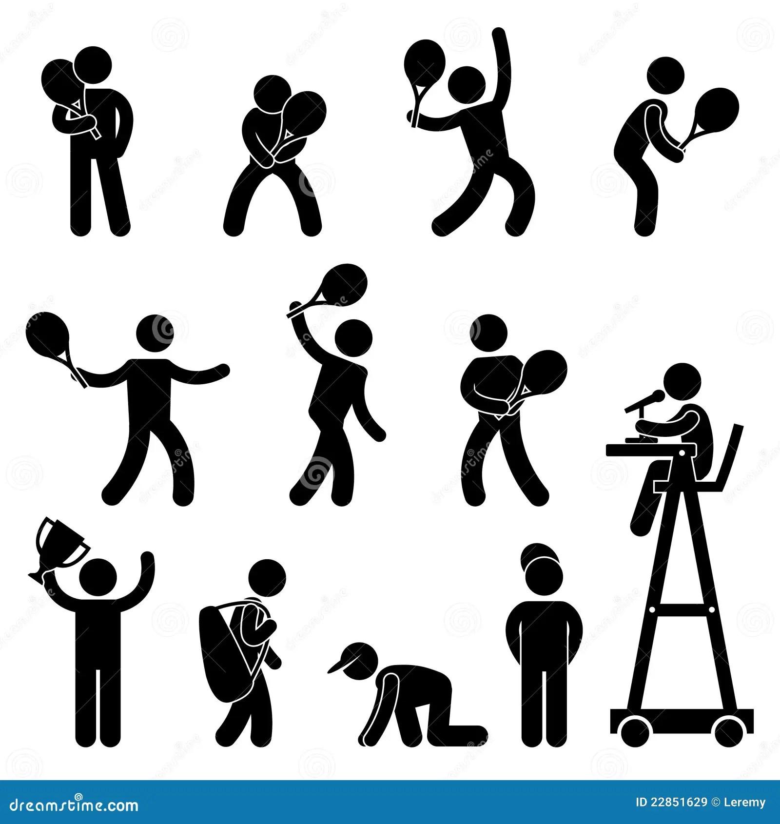 Tennis Player Umpire Pictogram Icon Pictogram Stock Vector