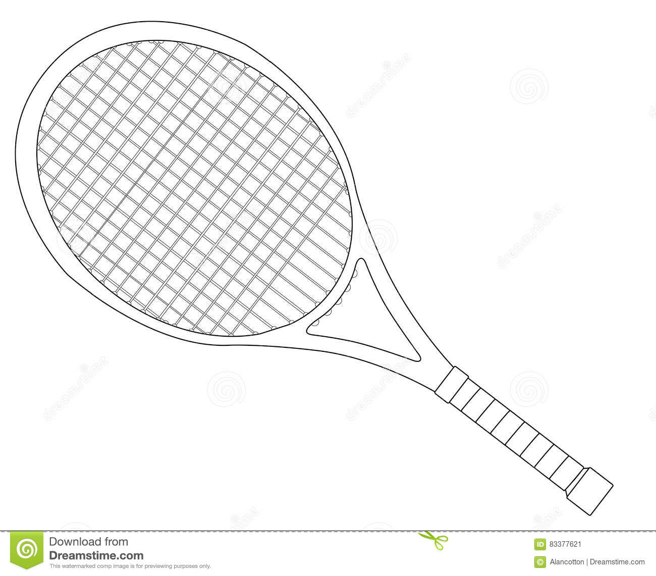 Tennis Racket Outline Stock Vector Illustration Of Game