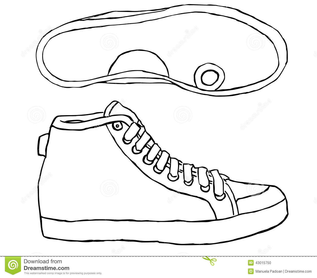Tennis Shoe On A White Background Stock Vector