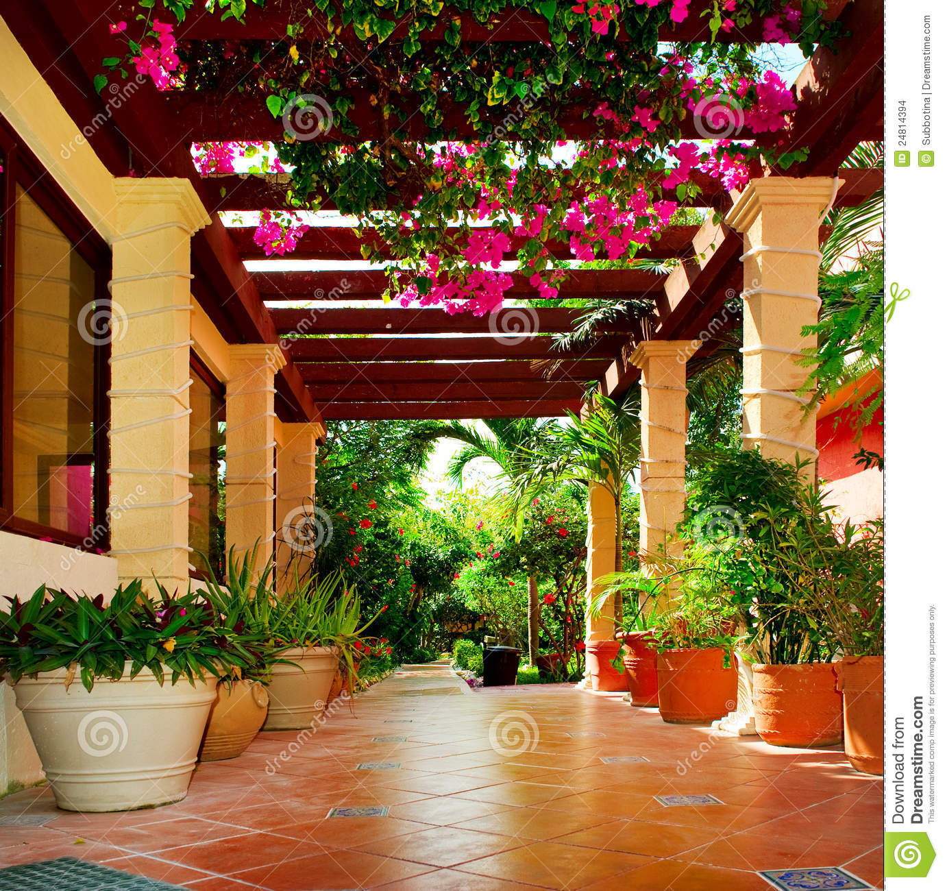 Terrace With Flowers Stock Images  Image 24814394