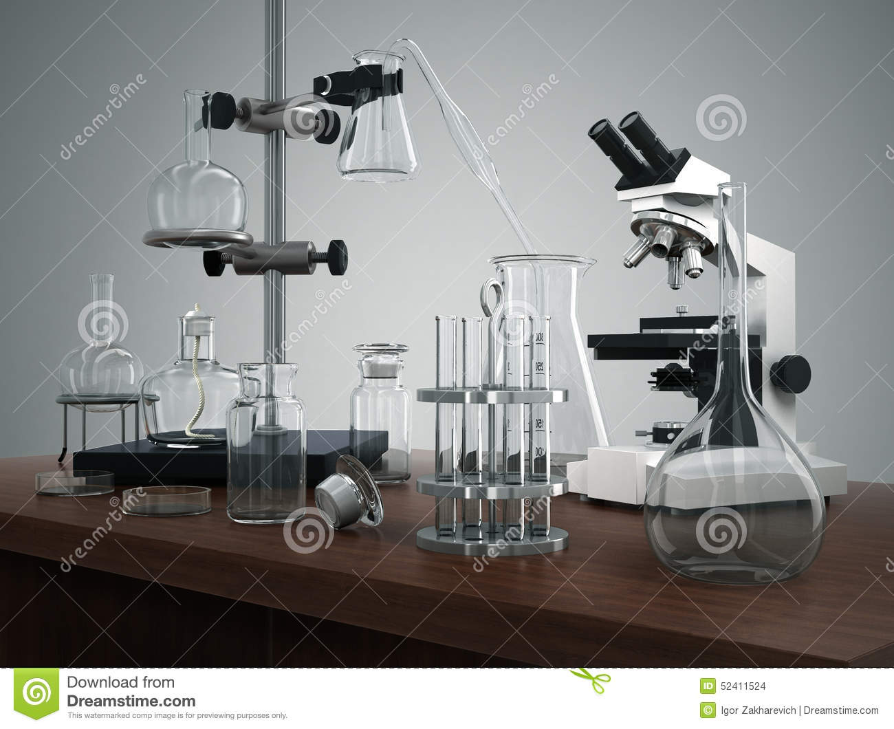 Test Tubes With Laboratory Equipment And Microscope On The Table Stock Illustration