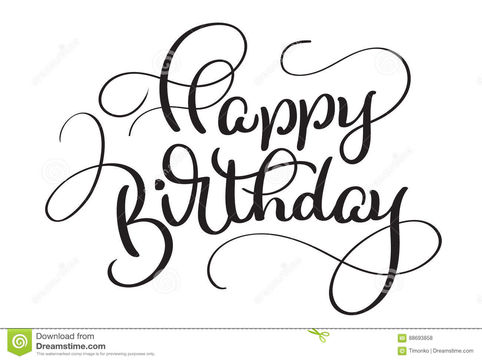 Text Happy Birthday On White Background Calligraphy