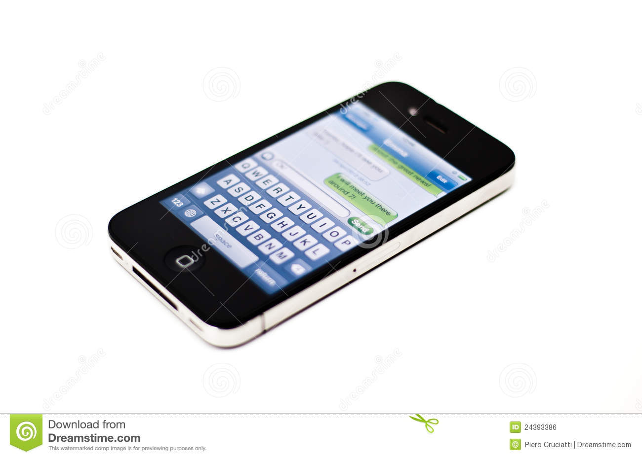 Text Message On Iphone Mobile Phone Editorial Photo