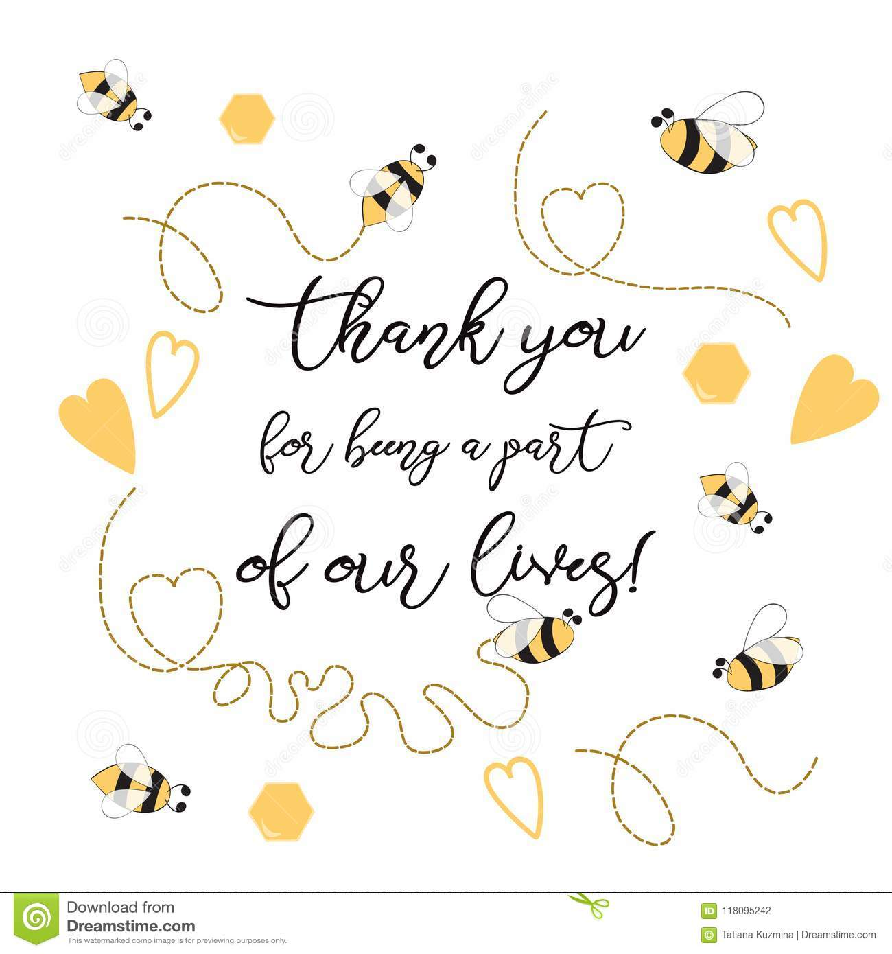 Text Thank You For Being A Part Of Our Leaves Sweet With Bee Honey Cute Card Design Adorable