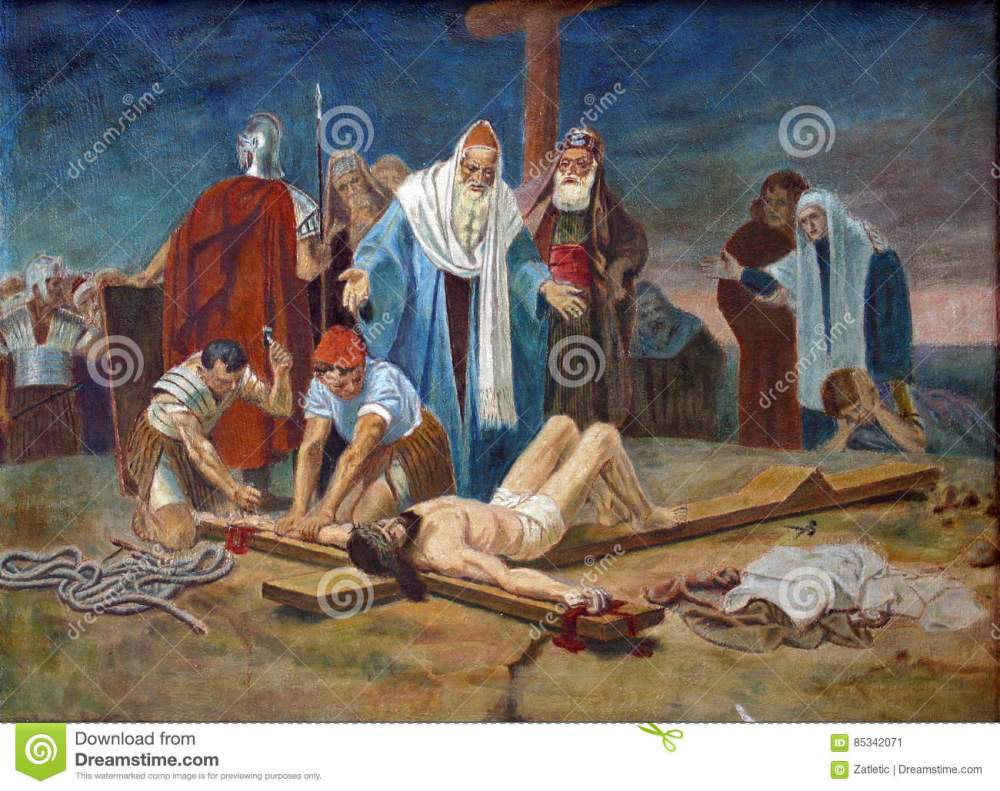 medium resolution of 11th station of the cross crucifixion jesus is nailed to the cross