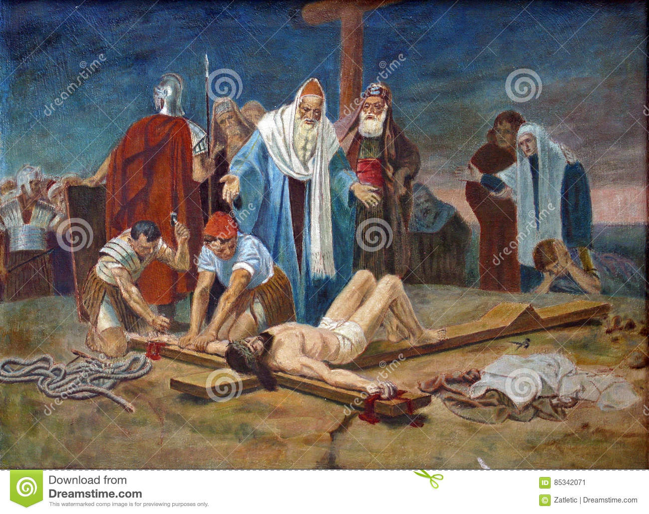 hight resolution of 11th station of the cross crucifixion jesus is nailed to the cross