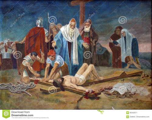 small resolution of 11th station of the cross crucifixion jesus is nailed to the cross