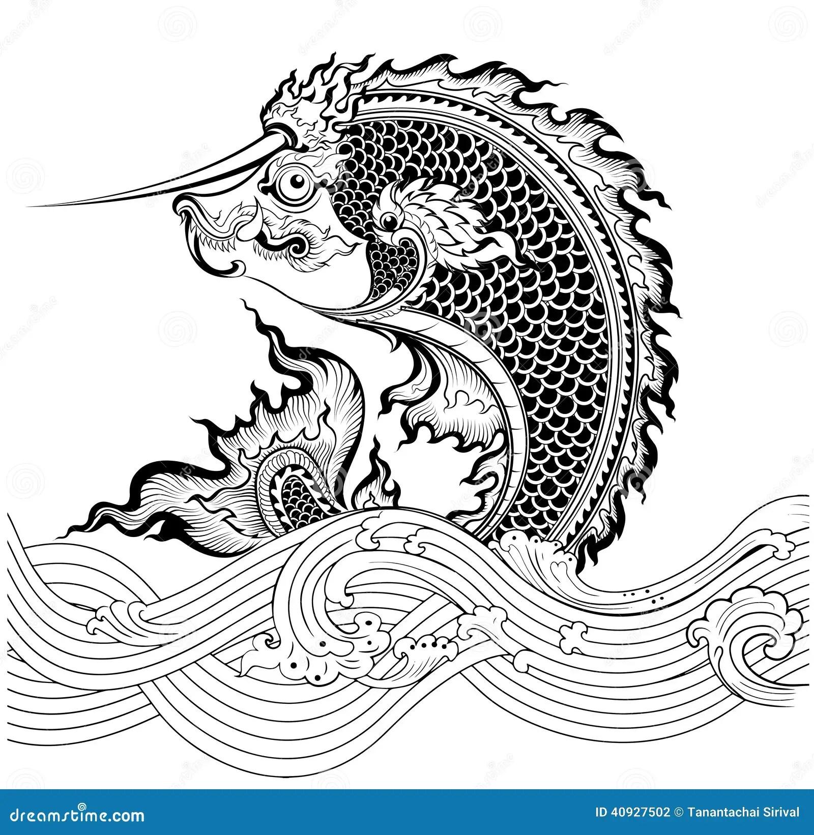 Thai Art Fish Stock Vector