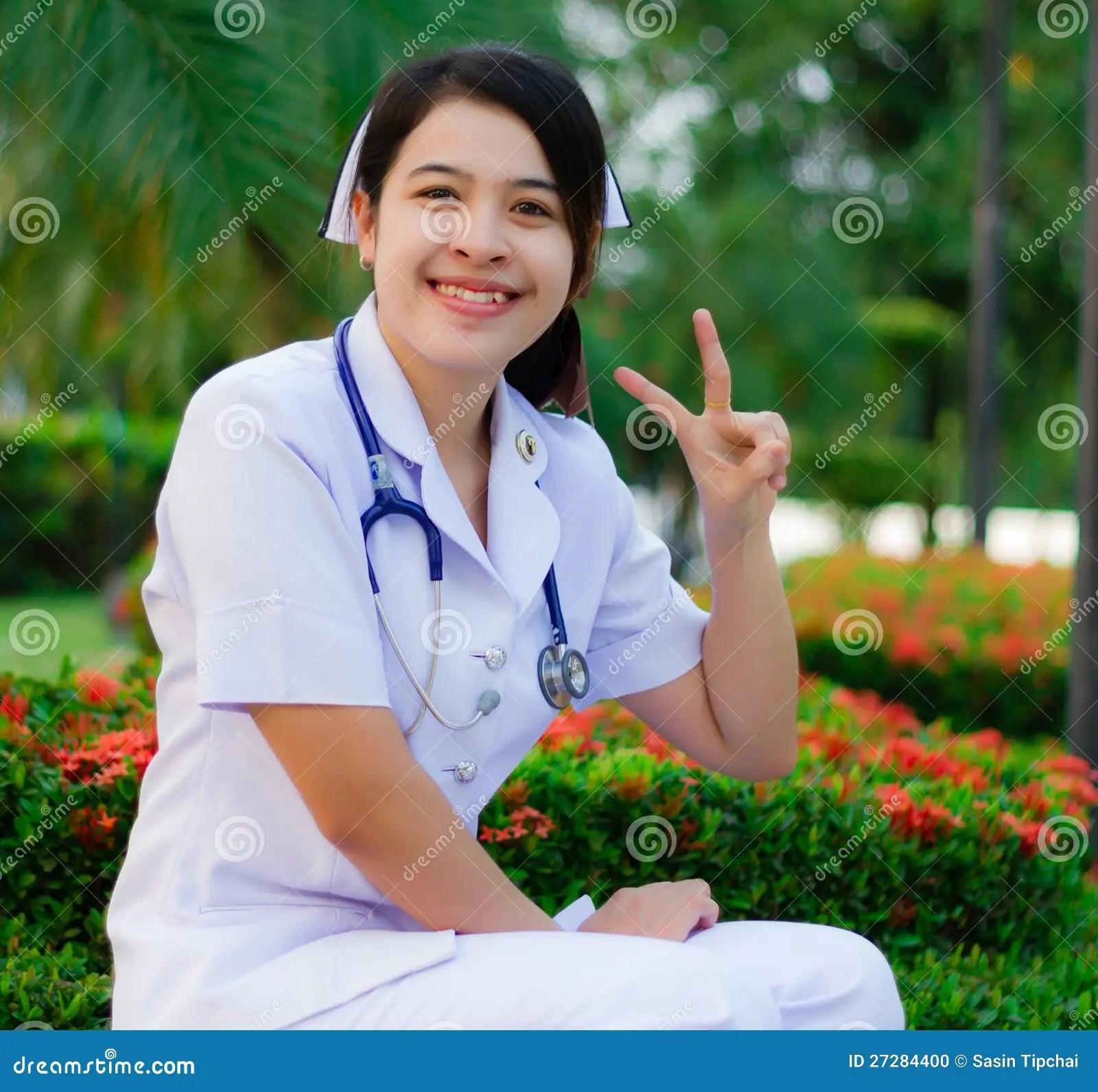 Thai Nurse Smiling With Stethoscope Stock Photo  Image