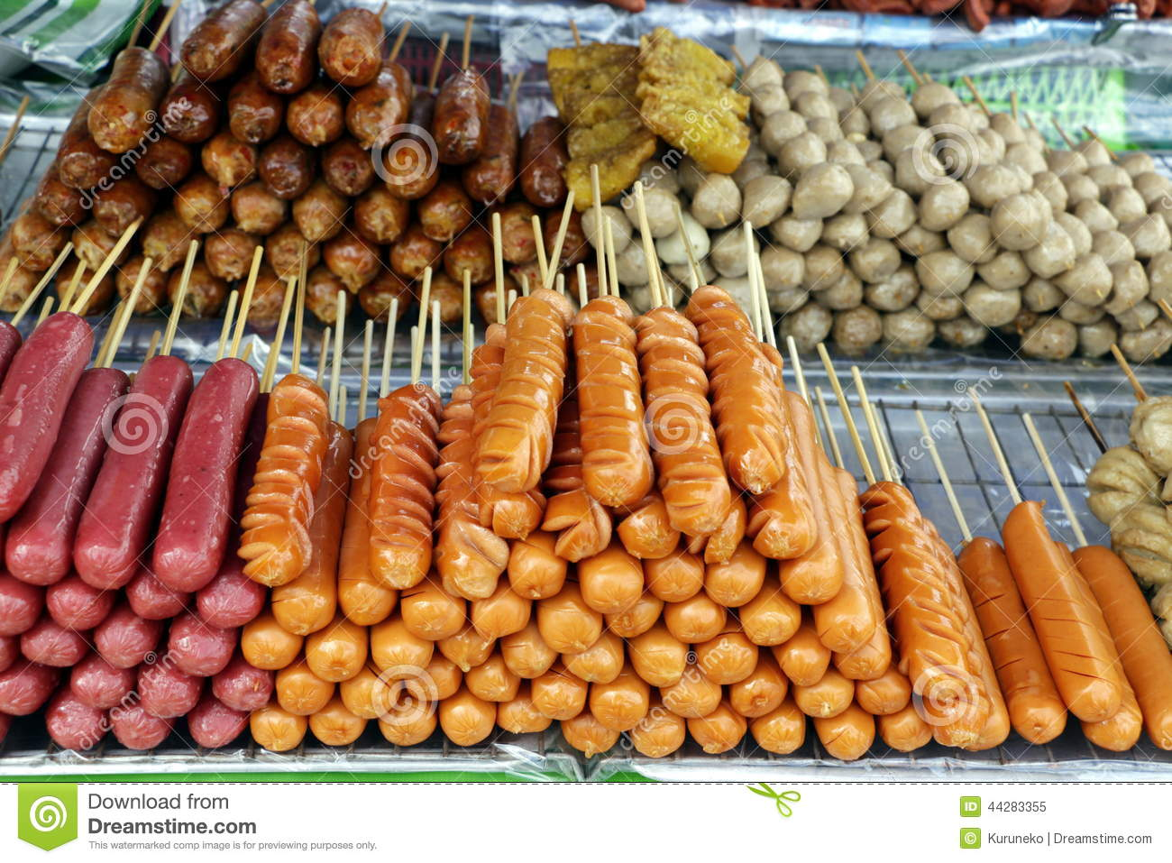 Thai Style Fried Sausage Sticks As A Popular Street Food