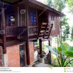 Veranda Chair Design Big Oversized Thai Traditional Antique Wood House Royalty Free Stock Photos - Image: 29696808