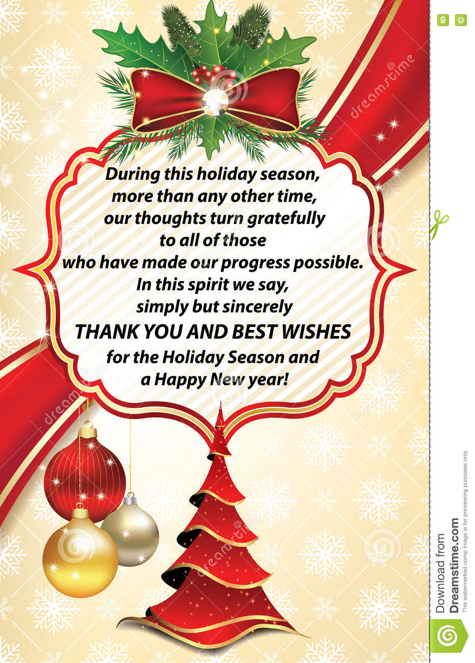 Thank You Business Greeting Card For New Year Stock Photo