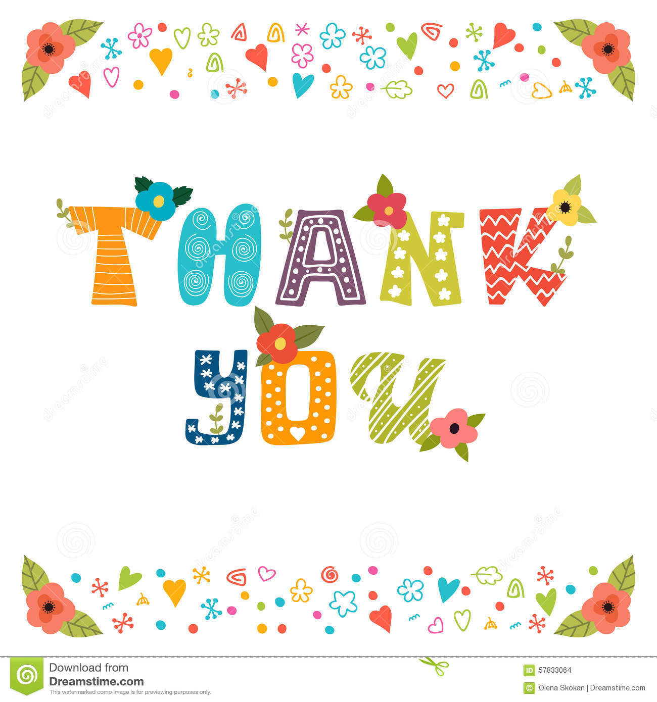 Thank You Card Design Cute Greeting Card With Flowers