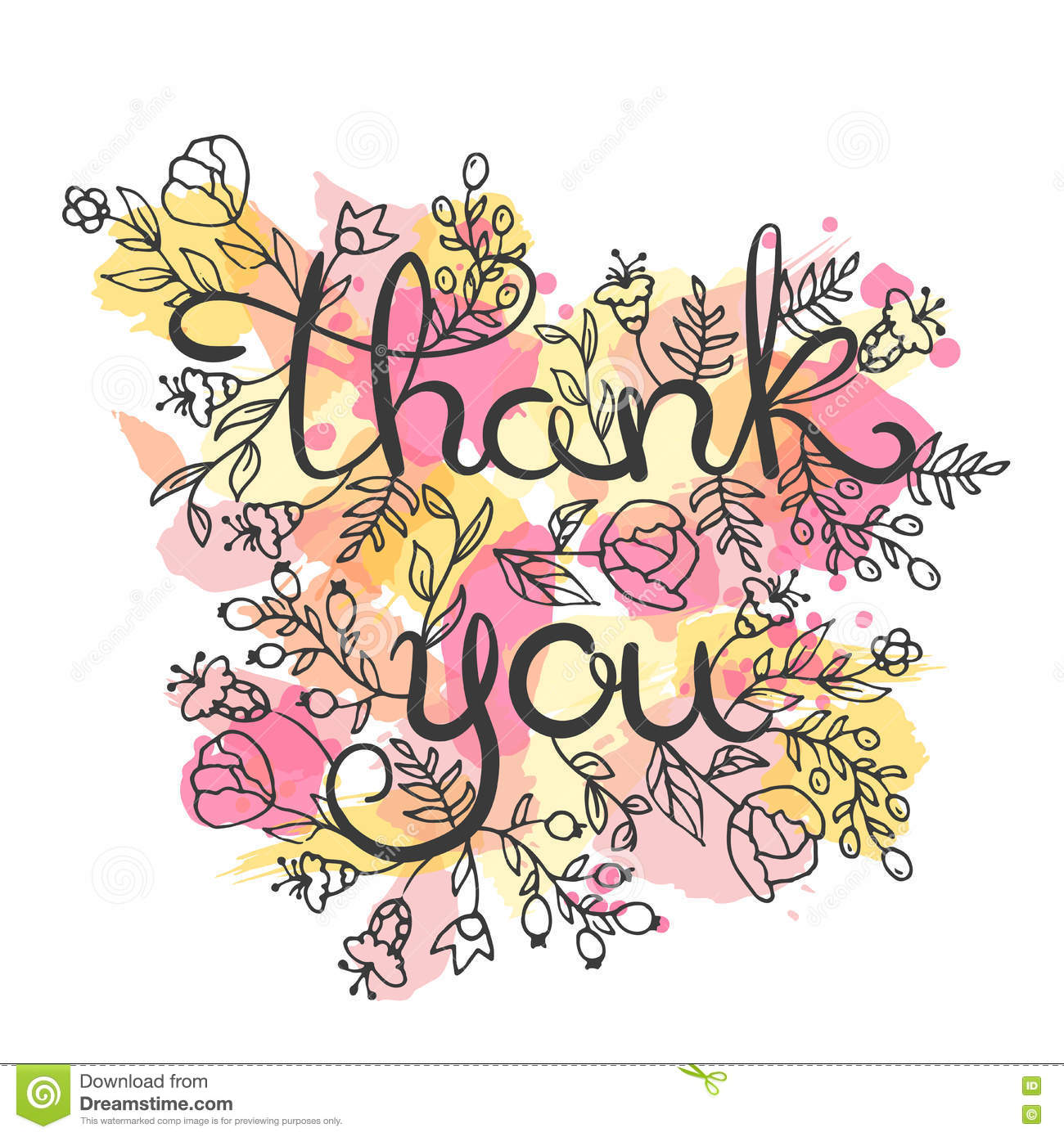 Thank You Card Hand Drawn Lettering Design Greeting Card