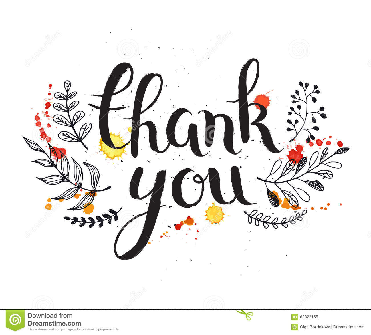Thank You Card Stock Vector Illustration Of Hand Doodle