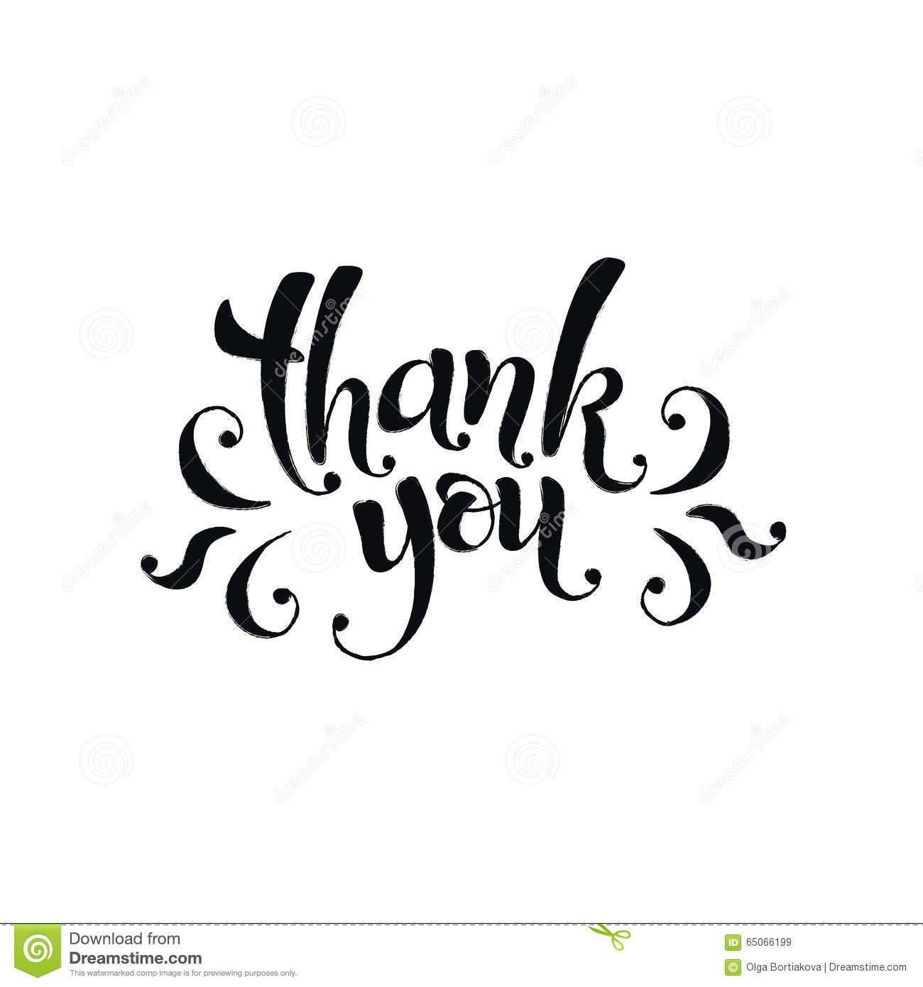 Thank You Card Template. Hand Lettering Brush Pen Modern