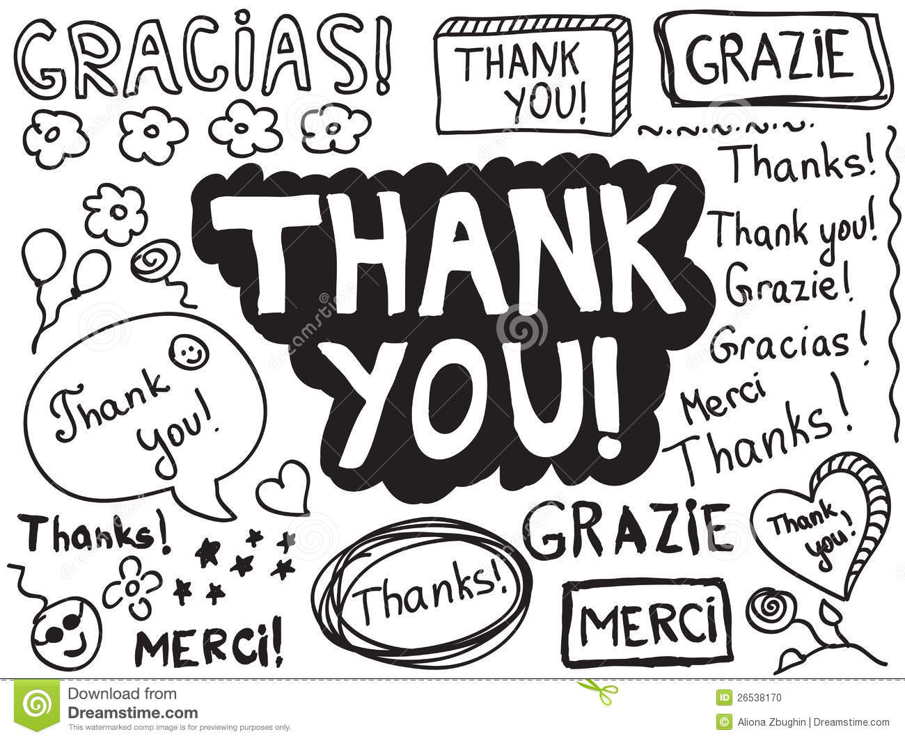Thank You Doodle Stock Vector Illustration Of Speech