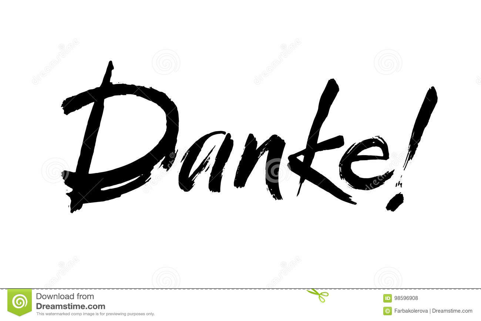 Thank You Lettering In German Danke Hand Drawn Vector