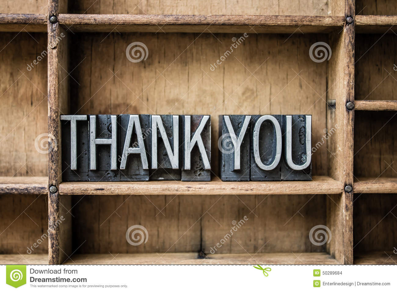 Thank You Letterpress Type In Drawer Stock Photo  Image