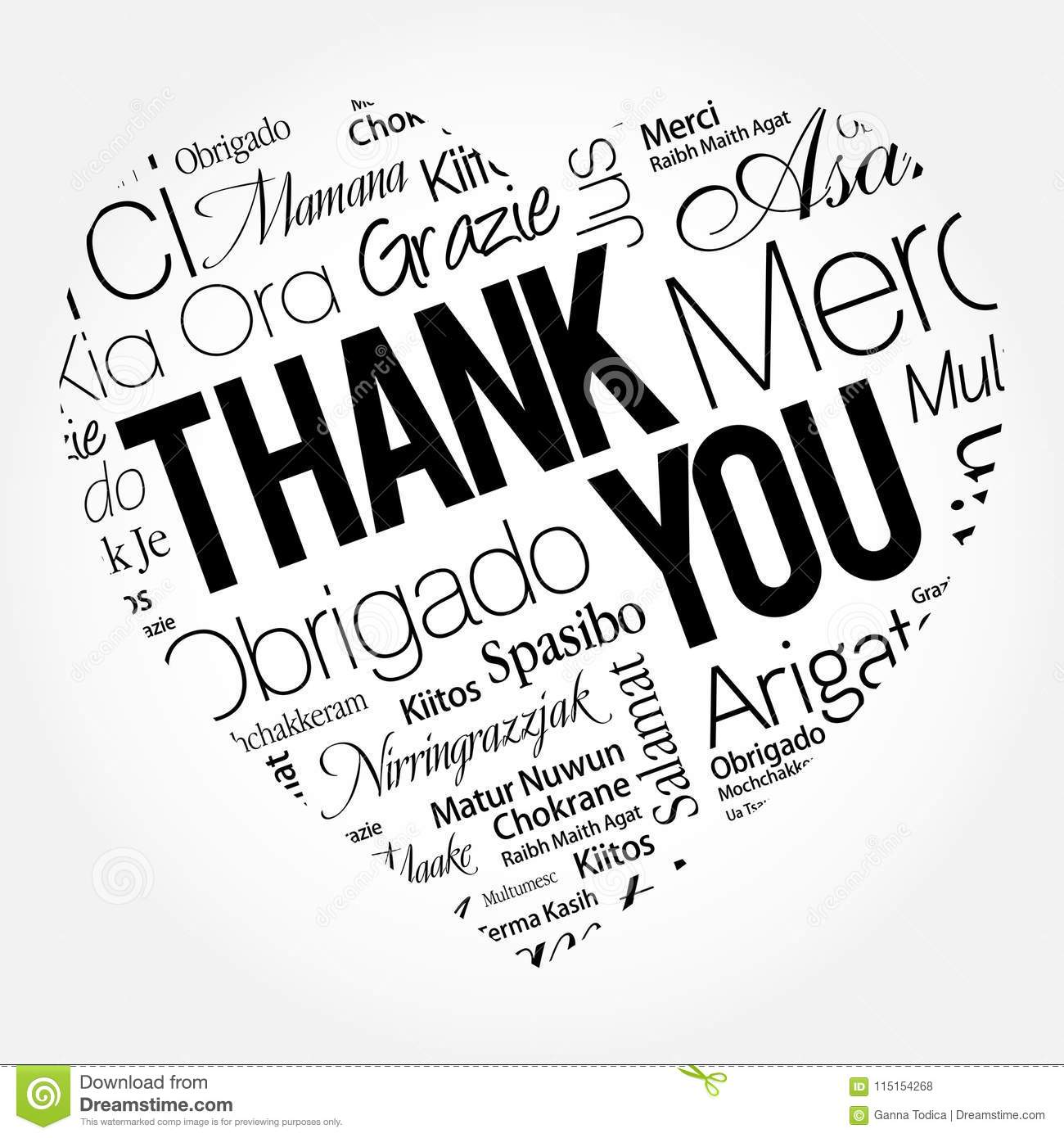 Thank You Love Heart Word Cloud Stock Illustration