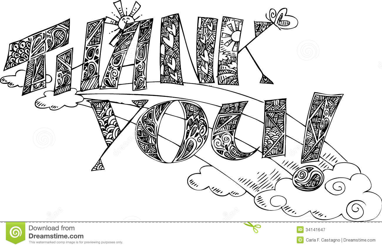 Thank You Coloring Sketchy Doodles Vector Stock Vector