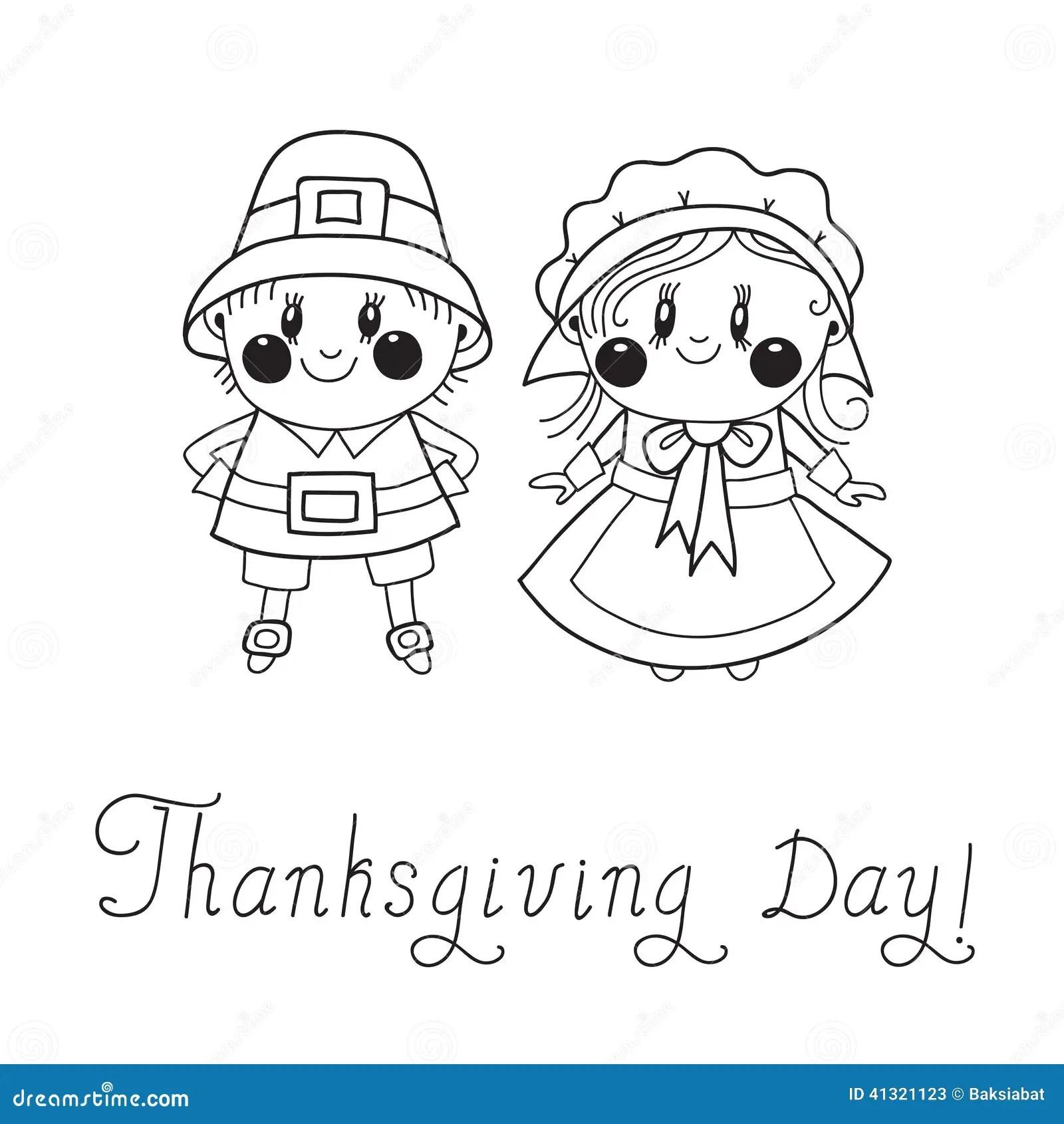 Thanksgiving Day Children Pilgrim Couple Stock Vector