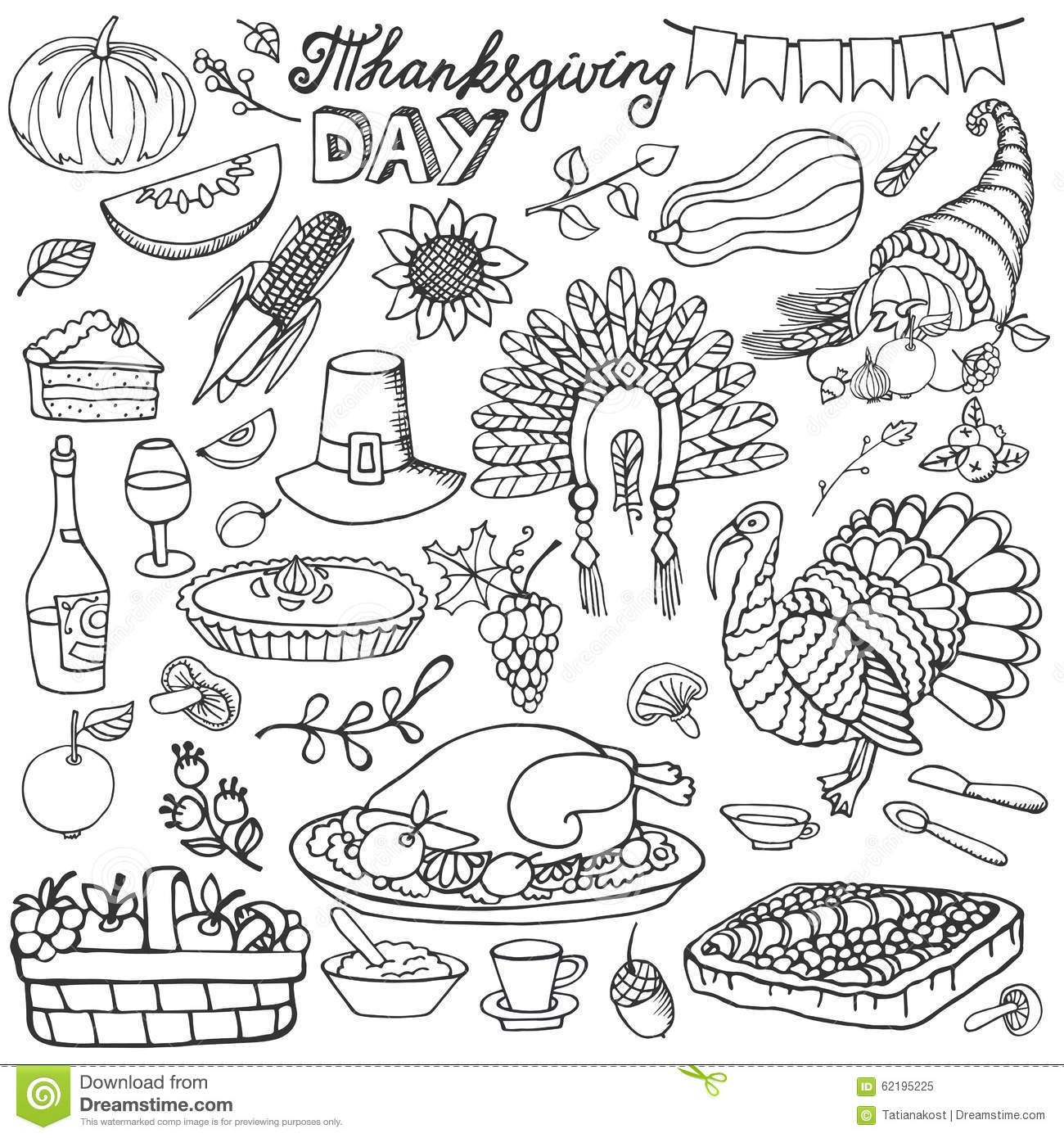 Thanksgiving Day Doodle Icons.Linear Set Stock Vector
