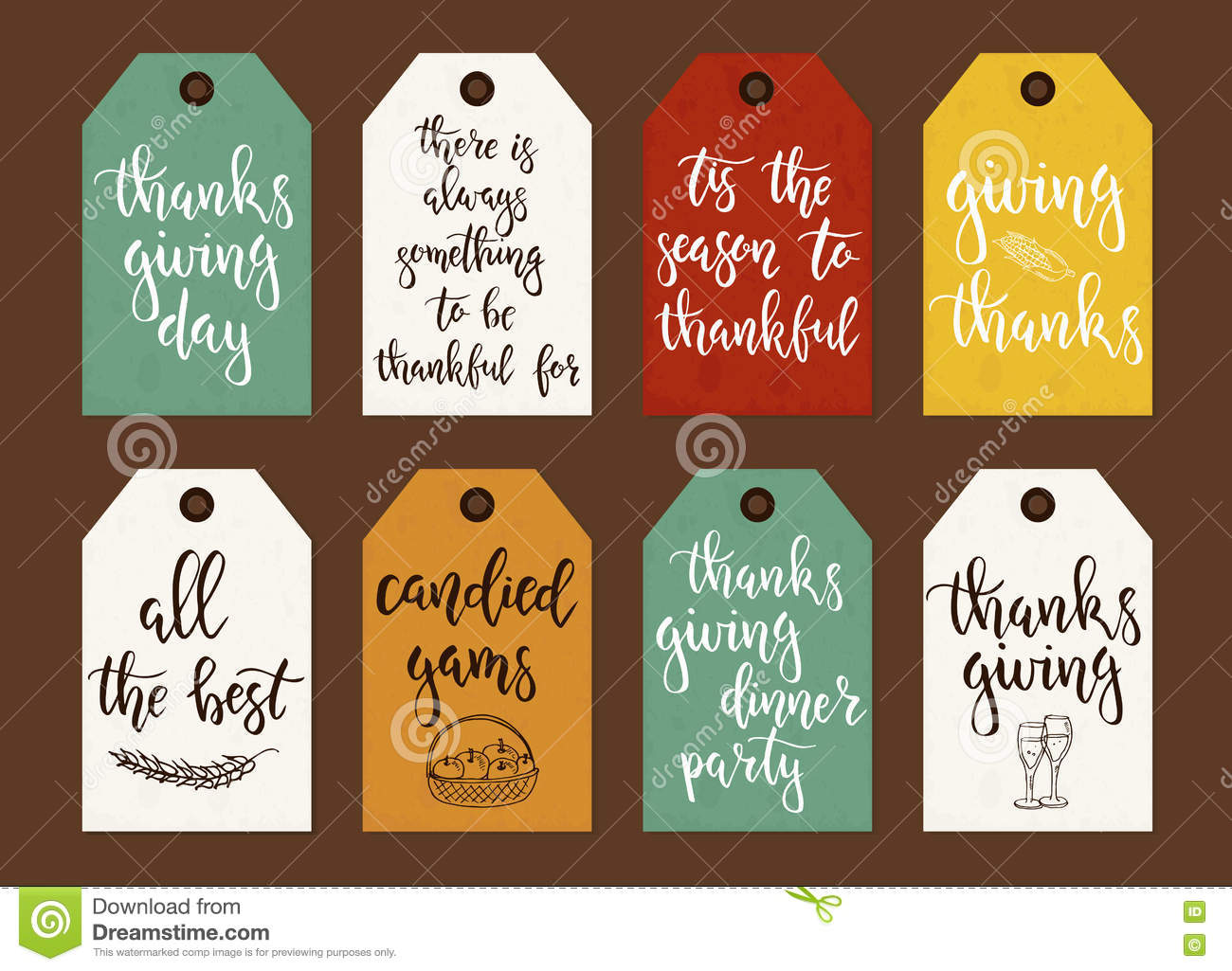 Thanksgiving Day Vintage Gift Tags And Cards With