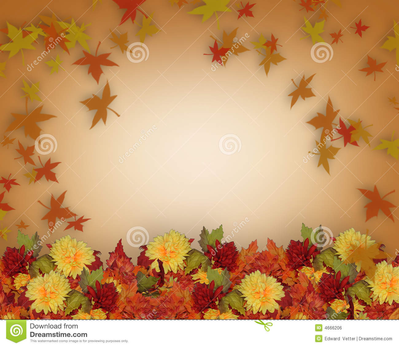 Thanksgiving Fall Leaves And Flowers Border Design Royalty