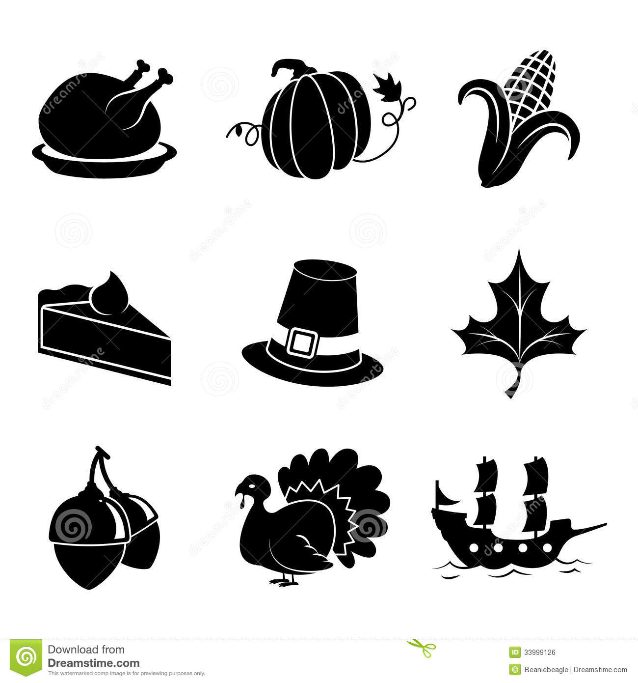 Thanksgiving Icons Stock Vector Illustration Of Holiday