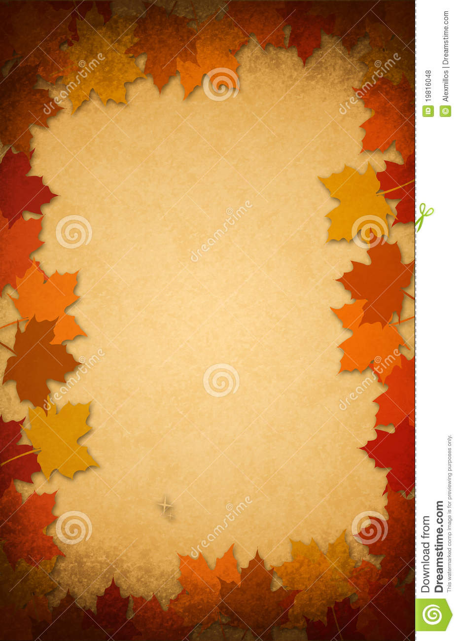 Fall Wallpaper Border Thanksgiving Leaves On An Old Paper Background Royalty