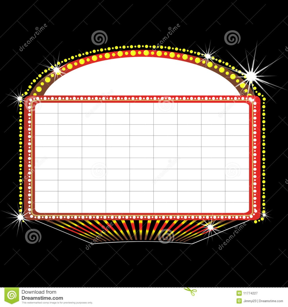 medium resolution of illustration of a theater marquee sign