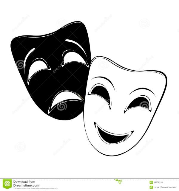 Theater Masks Happy and Sad Clip Art