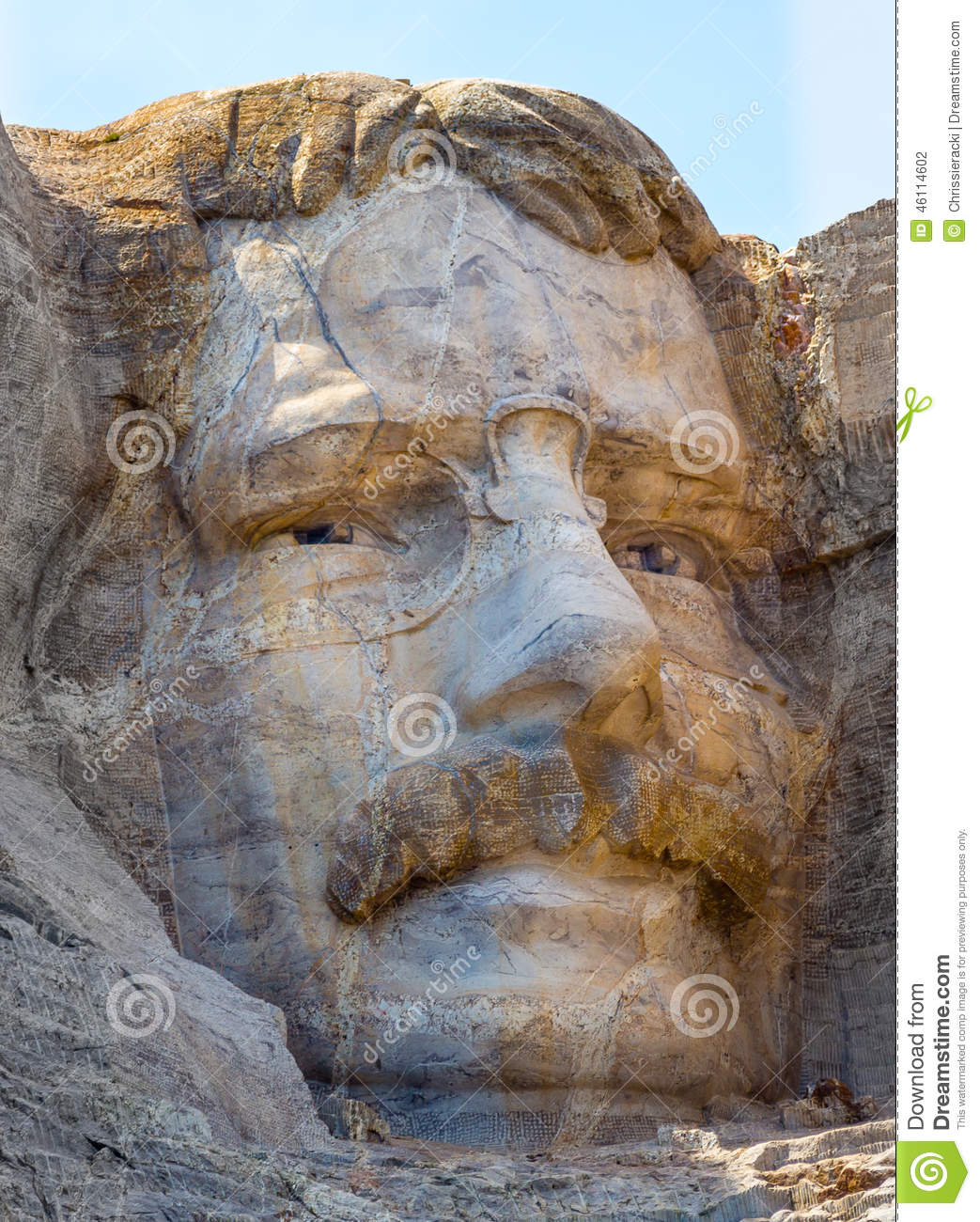 Theodore Roosevelt Carved On Mount Rushmore Stock Photo