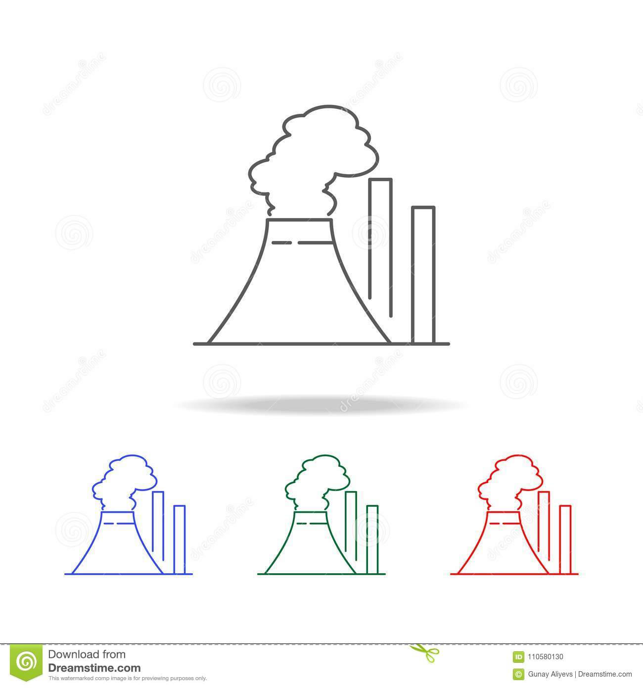 Thermal Power Plant Icon. Elements In Multi Colored Icons
