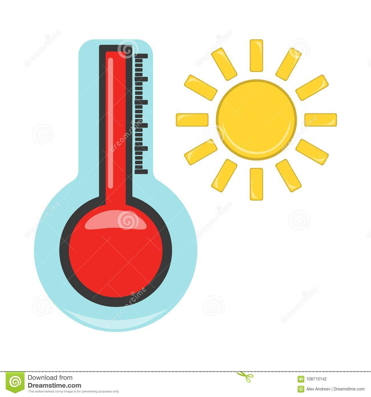 Thermometer With Hot Icon Weather Label For Web On White