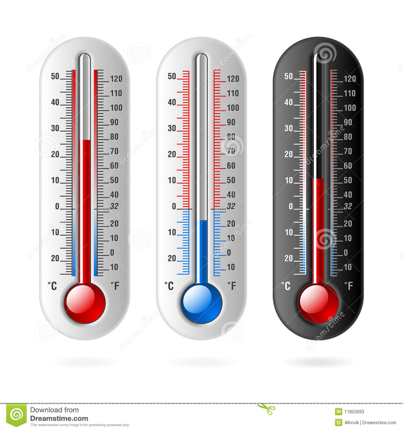 Thermometers Celsius And Fahrenheit Stock Vector