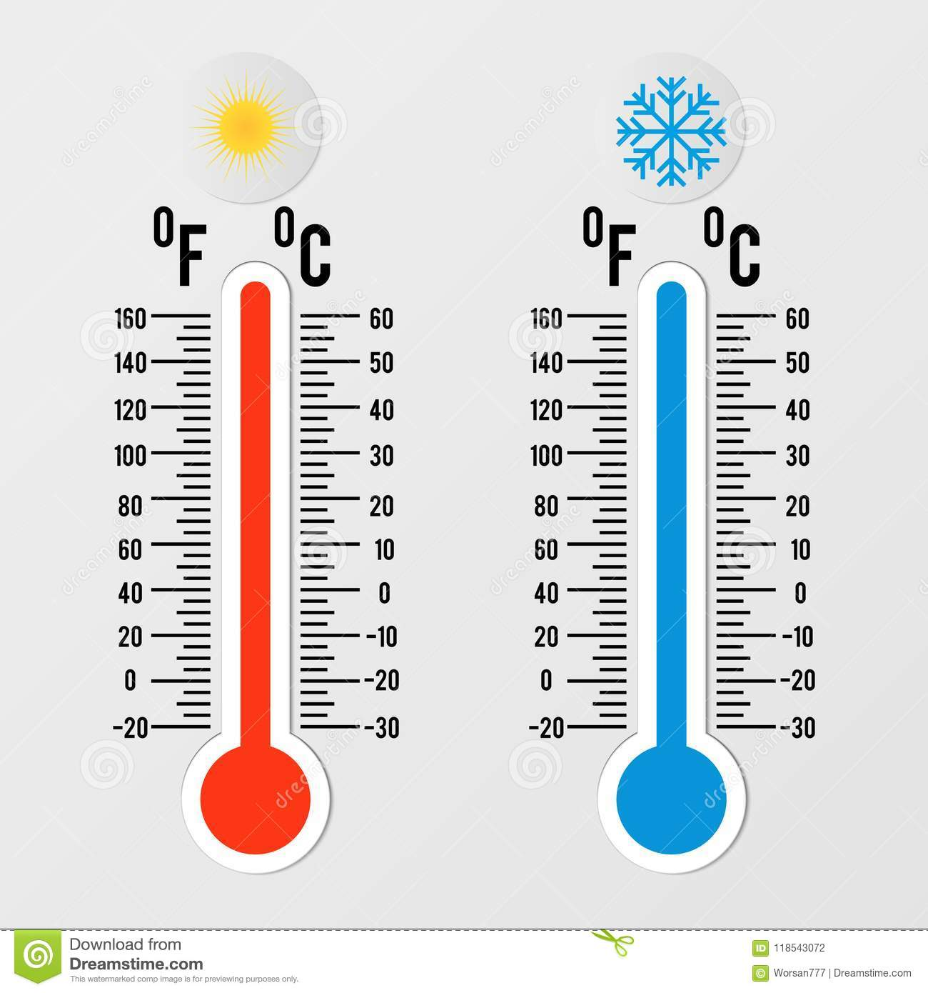 Thermometers In Flat Style Hot And Cold Temperature