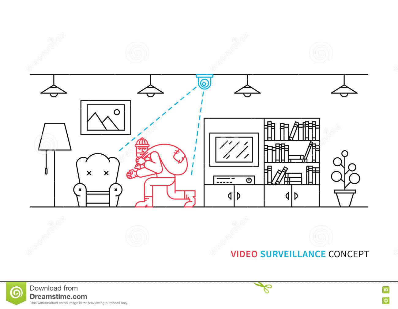 Vector Flat Hidden Surveillance Camera Cartoon Vector