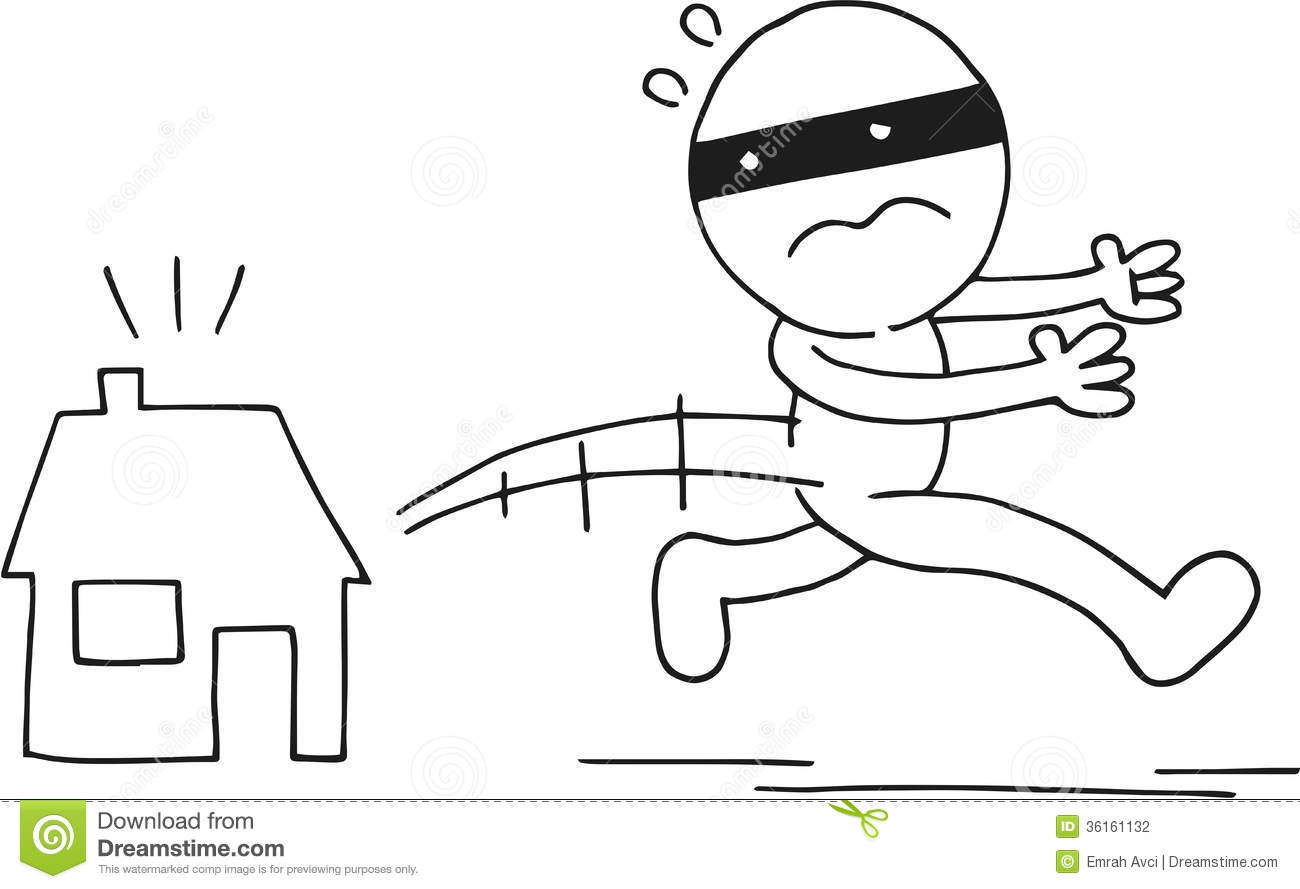 Thief Running Away Stock Illustration Illustration Of