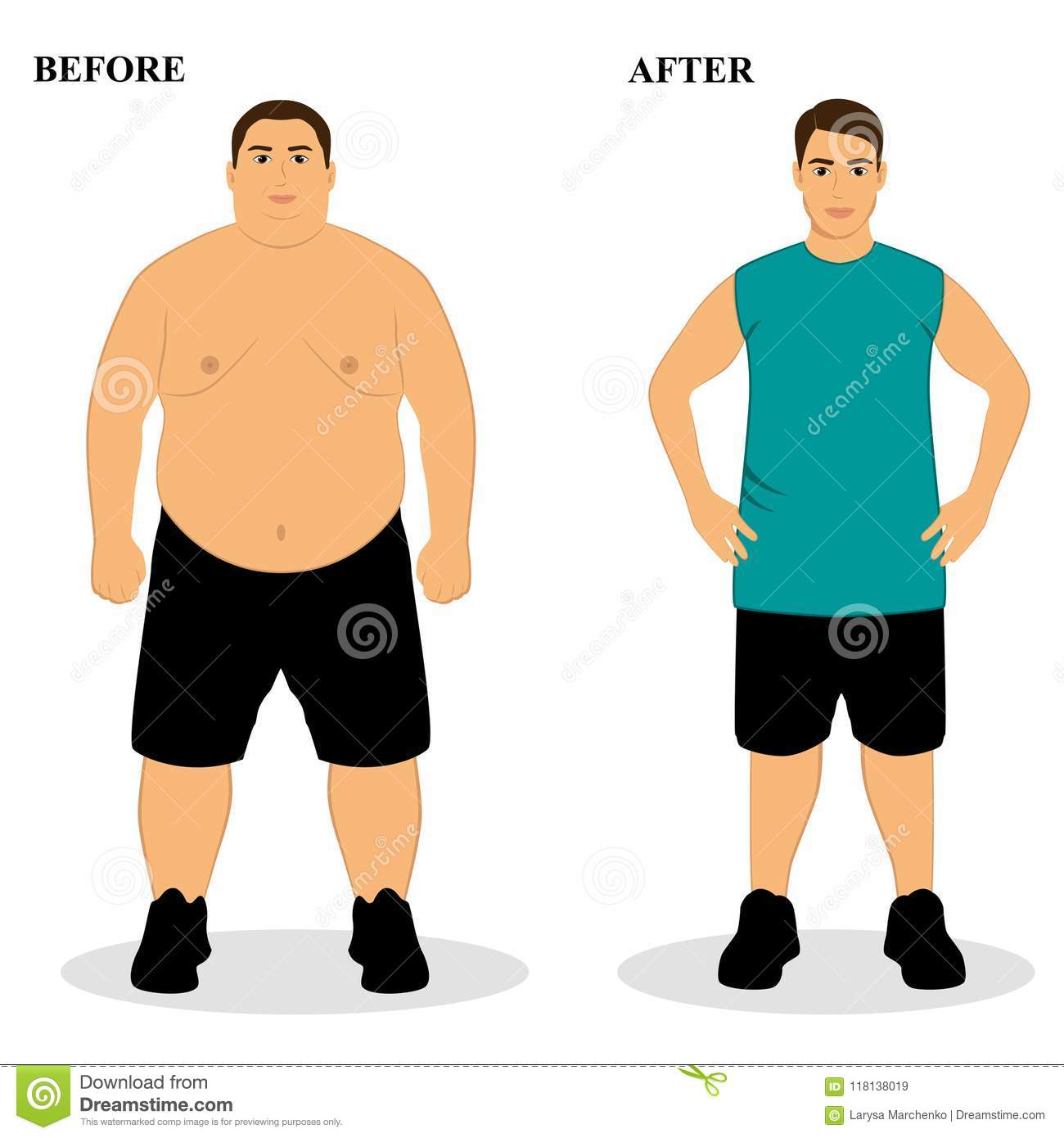 From Fat To Slim Body Cartoon Vector