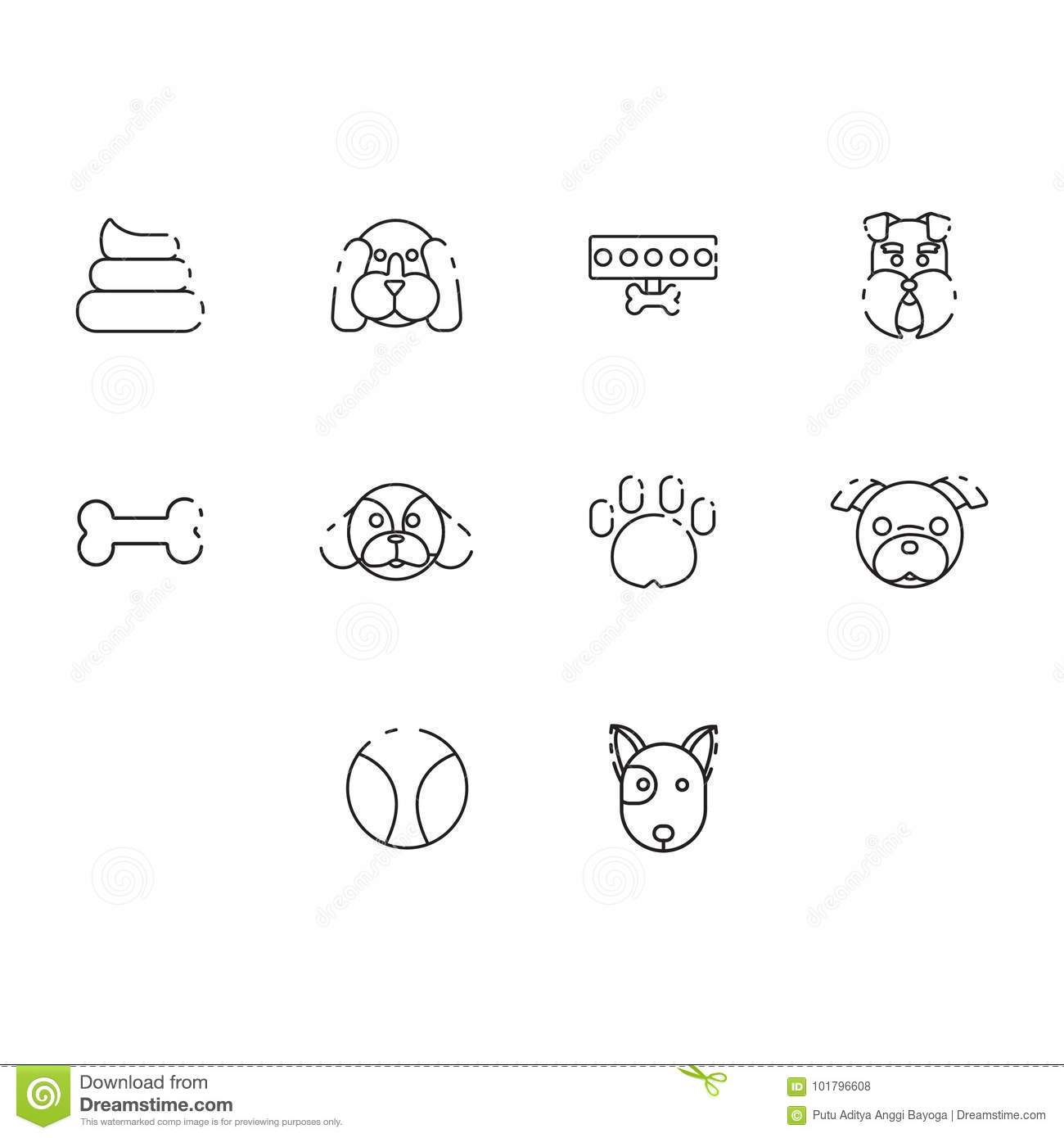 Thin line dog icon set stock vector. Illustration of poop