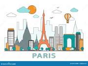 thin line flat design of paris