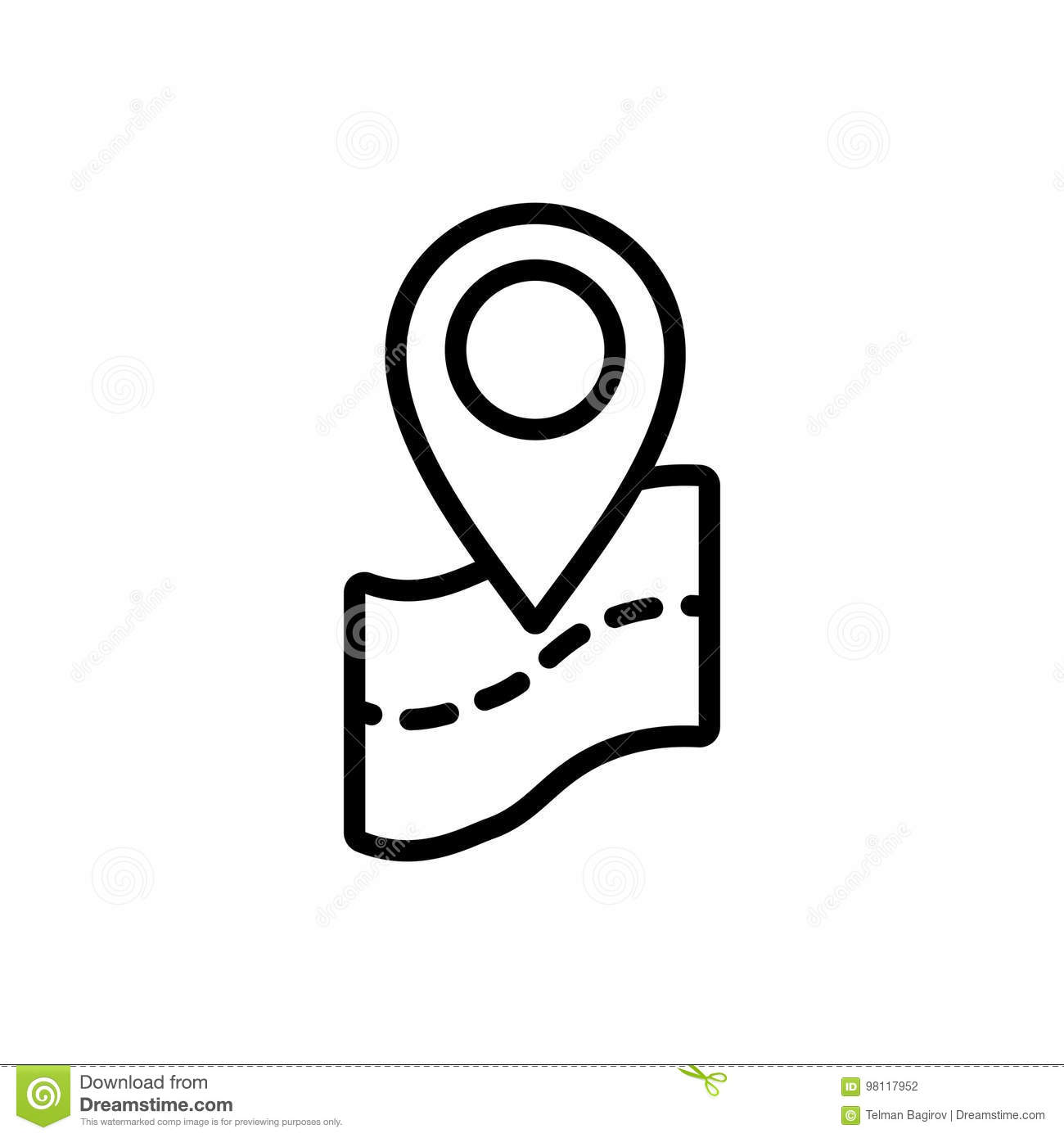 Thin Line Map Pin Point Location Icon Stock