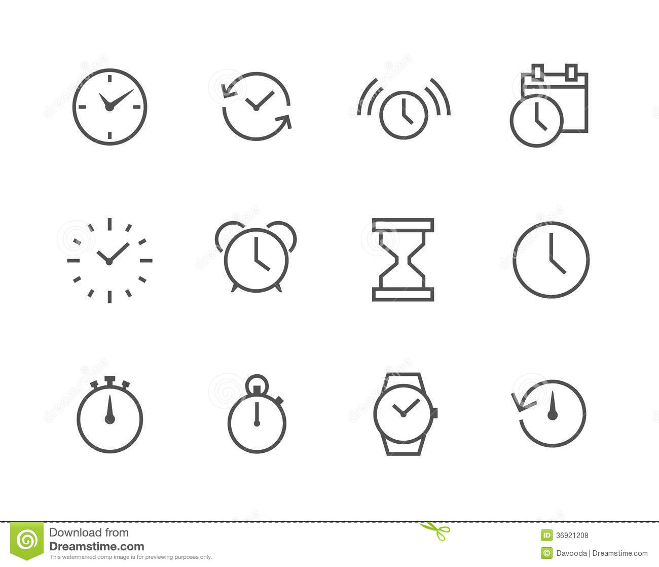 Thin Line Simple Icon Set Related To Time Stock Vector