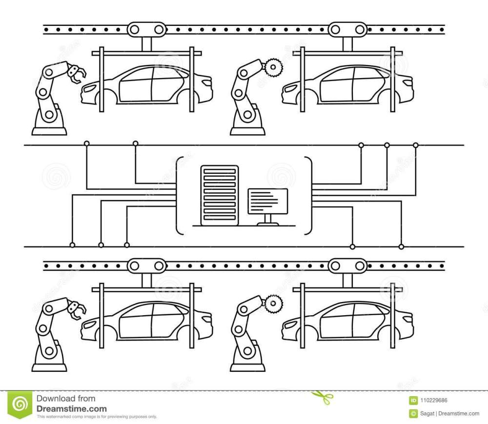 medium resolution of thin line style car assembly line automatic auto production conveyor robotic car machinery industry concept vector illustration