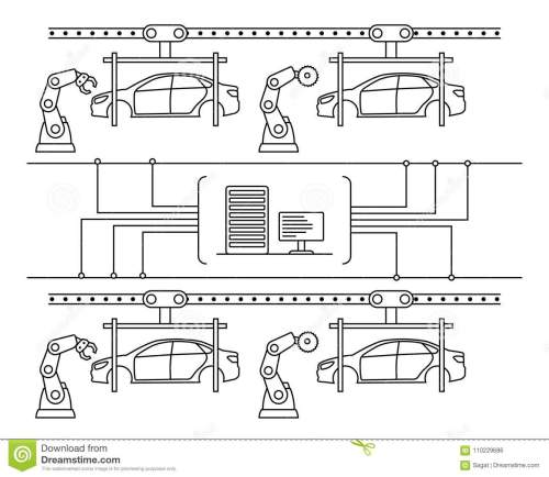 small resolution of thin line style car assembly line automatic auto production conveyor robotic car machinery industry concept vector illustration