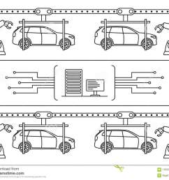 thin line style car assembly line automatic auto production conveyor robotic car machinery industry concept vector illustration  [ 1300 x 1088 Pixel ]