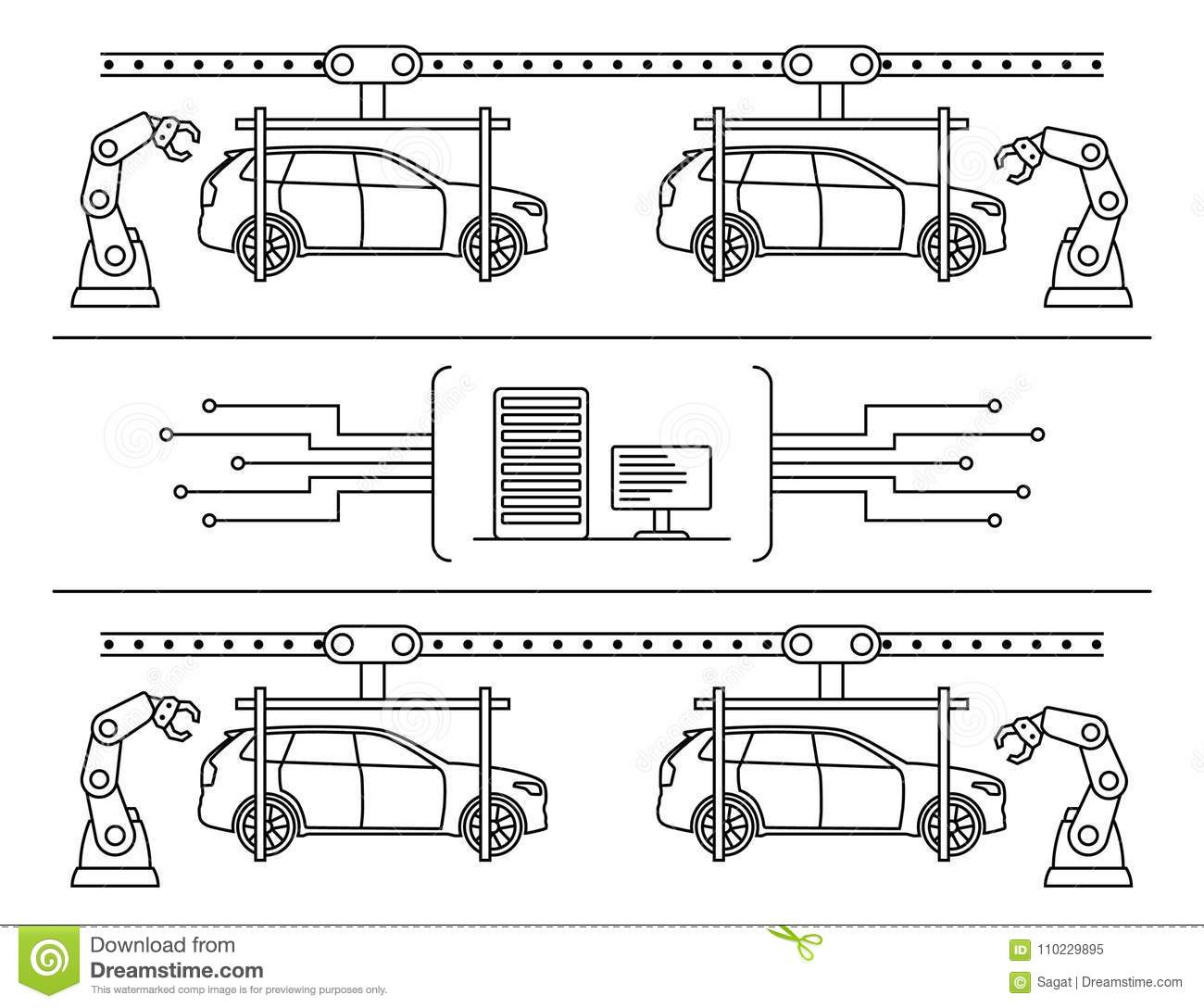 hight resolution of thin line style car assembly line automatic auto production conveyor robotic car machinery industry concept vector illustration