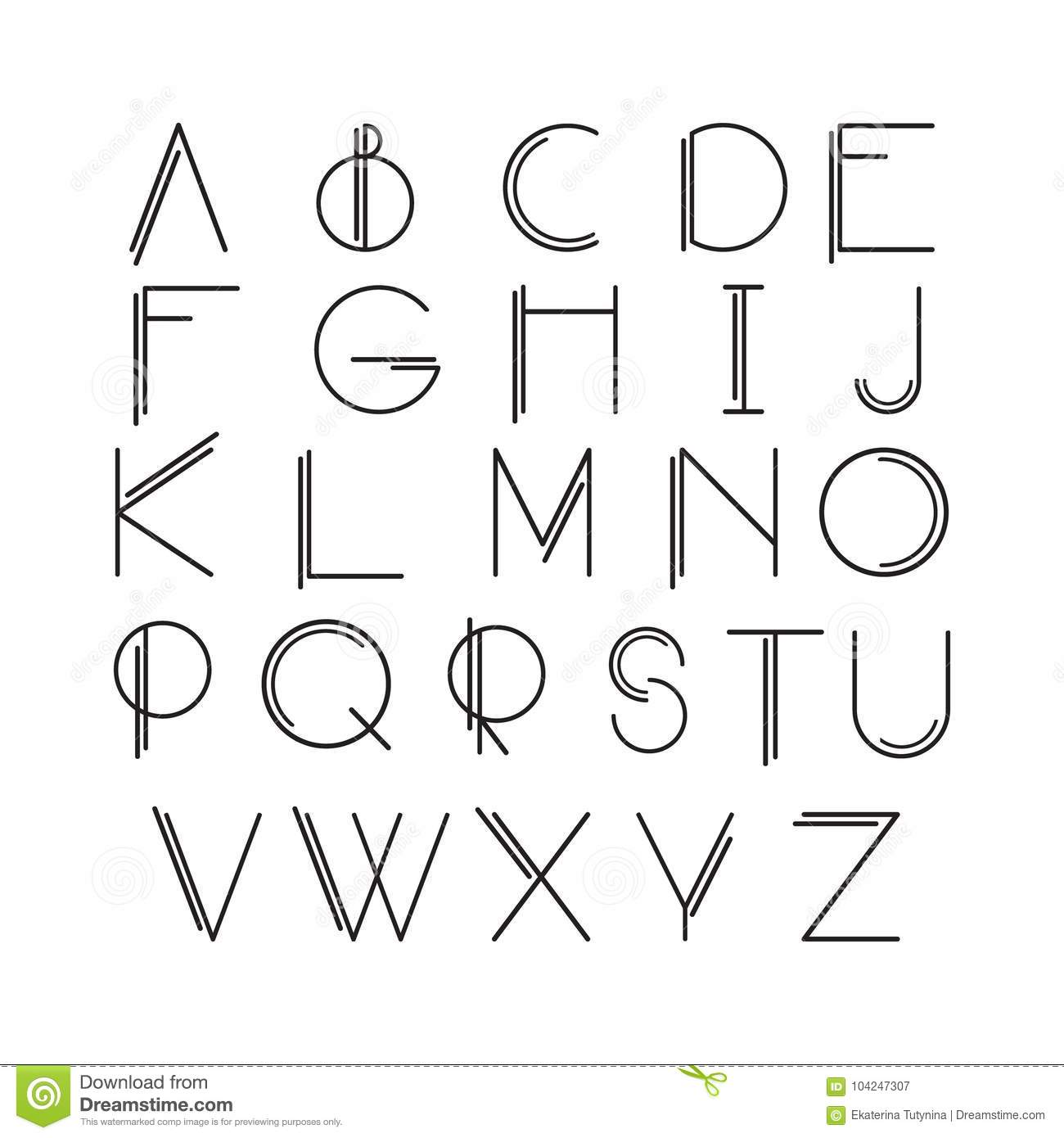 Thin Line Style, Linear Modern Font Stock Vector